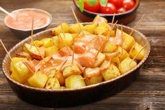 Patatas bravas traditional Spanish potatoes snack tapas Royalty Free Stock Photos