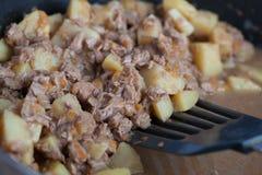 Patatas con la carne guisada en la placa Imagen de archivo libre de regalías
