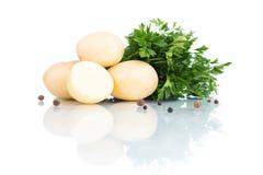 Patatas con perejil y pimienta negra en blanco Foto de archivo libre de regalías