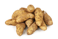 Patatas crudas sucias del pececillo aisladas en blanco Imagenes de archivo