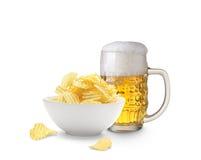 Patatas del cerveza y fritas Fotografía de archivo libre de regalías