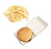 Patatas del hamburguesa y fritas Imagen de archivo libre de regalías