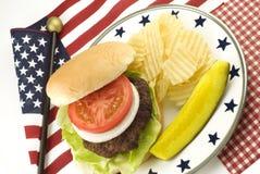Patatas del hamburguesa y fritas con tema patriótico Imagen de archivo libre de regalías