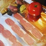 Patatas del tocino y del pececillo de Turquía Imagenes de archivo