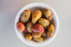 Patatas frescas crudas en un cuenco imágenes de archivo libres de regalías