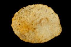 Patatas fritas aisladas en un negro Foto de archivo