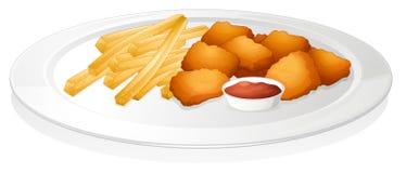 Patatas fritas, chuleta y salsa ilustración del vector