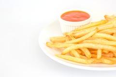 Patatas fritas con la salsa de tomate Imagen de archivo libre de regalías