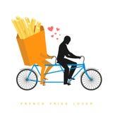 Patatas fritas del amante Comida en la bicicleta Amantes del ciclo Rol del hombre stock de ilustración