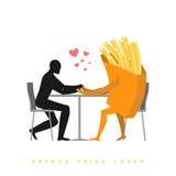 Patatas fritas del amante en café Hombre y alimentos de preparación rápida que se sientan en la tabla libre illustration