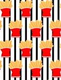 Patatas fritas del drenaje de la mano Fondo inconsútil de la raya del modelo de las patatas fritas del garabato Modelo inconsútil libre illustration