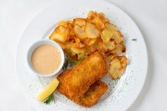 Patatas fritas del pechuga de pollo y fritas con una salsa fotos de archivo libres de regalías