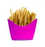Patatas fritas en caja rosada Fotos de archivo libres de regalías