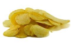 Patatas fritas en el fondo blanco Fotos de archivo