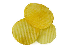Patatas fritas en el fondo blanco Imagen de archivo libre de regalías