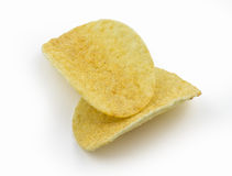 Patatas fritas en el fondo blanco Foto de archivo libre de regalías