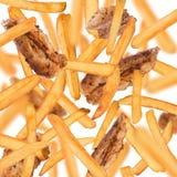 Patatas fritas en el movimiento del helada imagen de archivo libre de regalías
