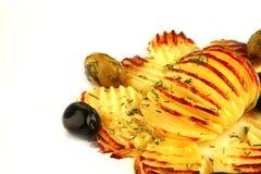 Patatas fritas en el plato blanco Foto de archivo