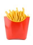 Patatas fritas en un rectángulo rojo Imagenes de archivo