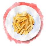 Patatas fritas en una placa en fondo rojo La visión desde la tapa Ejemplo dibujado mano de la acuarela Vector imagenes de archivo