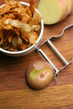 Patatas fritas hechas en casa; visión superior Imagenes de archivo