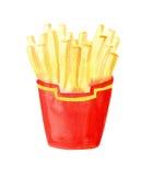 Patatas fritas, patata, pintura de la acuarela stock de ilustración