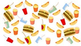 Patatas fritas, perrito caliente, hamburguesa y bebida en el fondo blanco ilustración del vector