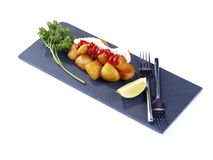 Patatas fritas picantes calientes del â de Patatas Bravas Imagen de archivo libre de regalías