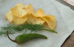 Patatas fritas picantes con la pimienta y el eneldo, lugar para su texto Fotografía de archivo