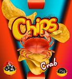 Patatas fritas Sabor del cangrejo Diseño que empaqueta, plantilla del vector libre illustration