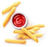 Patatas fritas Salsa de tomate de la salsa de tomate y patatas fritas asadas Ilustraci?n del vector imagen de archivo libre de regalías