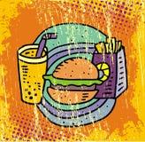 Patatas fritas, soda y hamburguesa Fotos de archivo