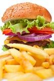 Patatas fritas y cheeseburger grande Fotos de archivo libres de regalías