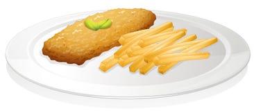 Patatas fritas y chuleta ilustración del vector