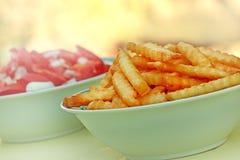 Patatas fritas y ensalada del tomate Fotografía de archivo libre de regalías