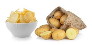 Patatas fritas y patata en el saco Imagen de archivo libre de regalías