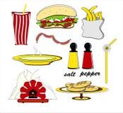 Patatas fritas y sopa de las salchichas de la hamburguesa de los alimentos de preparación rápida Imagen de archivo libre de regalías