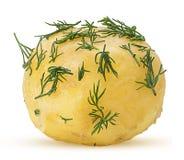 Patatas hervidas jovenes en eneldo fotos de archivo
