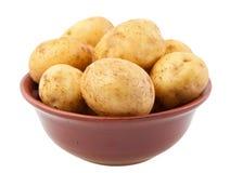 Patatas jovenes en un tazón de fuente de la arcilla Imagen de archivo
