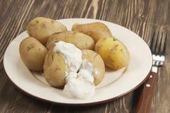 Patatas jovenes hervidas foto de archivo