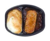 Patatas y cena de TV cocinada Meat Loaf Foto de archivo libre de regalías
