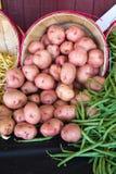 Patatas y habas en una vertical del mercado Imagen de archivo