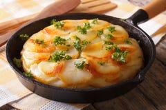 Patate al forno casalinghe in un primo piano della pentola orizzontale Immagine Stock
