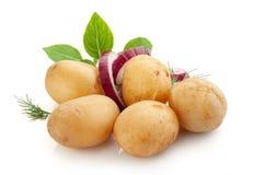 Patate bollite con la buccia con basilico, la cipolla e l'aneto fotografia stock