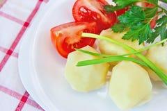 Patate bollite, pomodori, cipolle verdi e prezzemolo su una zolla Immagini Stock