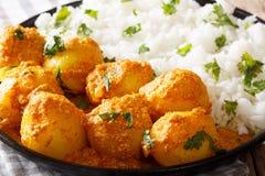 Patate calde e piccanti indiane di aloo di Kashmiri Dum con la macro del riso Immagini Stock
