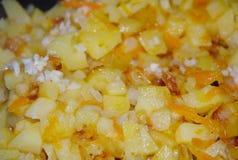 Patate casalinghe fritte con aglio, le cipolle e la carota fotografie stock libere da diritti