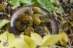 Patate cotte con le costole di carne di maiale sul fuoco presentato su un piatto dell'argilla, decorato con i verdi Cena in natur immagine stock libera da diritti