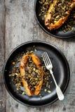 Patate dolci al forno farcite con i semi e Cranberrie della zizzania Fotografia Stock Libera da Diritti