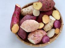 Patate douce de diversité sur le fond blanc Photo stock